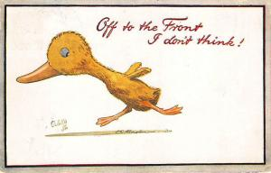 Raphael Tuck Off World War I Humorous Off To The Front I don't think Postcard