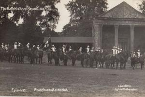 Roundheads Assembled Knights Battle Mounted Horse 1909 Bath Pageant Old Postcard
