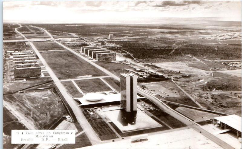 RPPC BRASILIA, Brazil  c1960s Vista Aerea do CONGRESSO E MINISTERIOS  Postcard