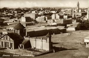 eritrea, ASMARA, Scorcio Panoramico, Enda Mariam Cathedral (1942) RPPC Postcard