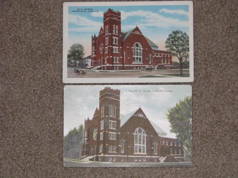 Churches- M.E. Church, Coffeyville, Kans., used & unused vintage cards