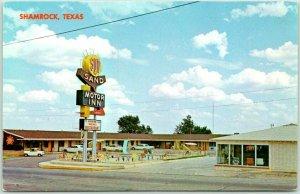 SHAMROCK, Texas ROUTE 66 Roadside Postcard SUN 'N' SAND MOTOR INN Chrome 1969