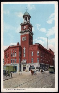 ME City Hall BIDDEFORD with horses/wagons and Street Car - White Border