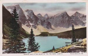 Hand-Colored, Moraine Lake in the Valley of the Ten Peaks, Alberta, Canada, 1...