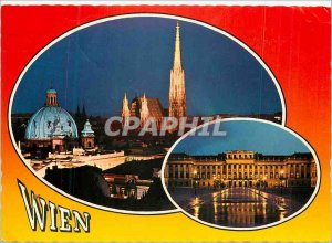 Postcard Modern Vienna and the castle Schoenbrunn nocturnelle