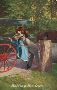 Vintage Postcard 1910's Holding His Own Man Helping Woman onto Horse Carriage
