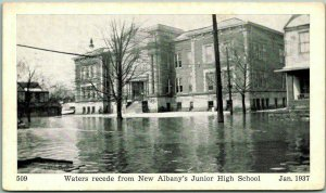 1937 New Albany, Indiana Postcard FLOOD SCENE Junior High School Unused