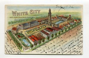 Vintage Postcard CHICAGO WHITE CITY  Birds Eye View Private Mailing 1906 Glitter