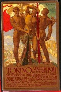 Lib377  - CARTOLINA d'Epoca llustrata - EXPO INDUSTRIA Torino 1911 DE KAROLIS