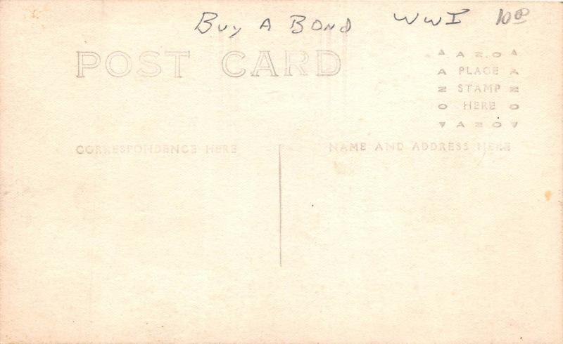 E39/ Patriotic Postcard Photo RPPC Kids Airplane Buy War Bonds WWI Bombs c1919