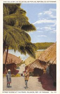 Pearl Islands Panama Street Scene Native Children Huts Antique Postcard K15497