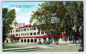 CALEXICO, CA ~ HOTEL de ANZA  c1940s Roadside Imperial County Linen Postcard