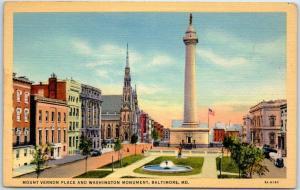 Baltimore, Maryland Postcard Mount Vernon Plane & Washington Monument Linen