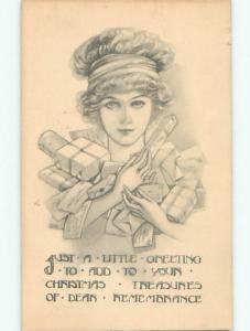 Pre-Linen PRETTY GIRL WEARING HEADBAND CARRIES MANY GIFT PRESENTS J3229