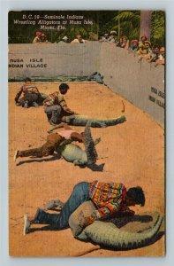 Miami FL-Florida,Seminole Indians Wrestling Alligators Musa Isle, Linen Postcard