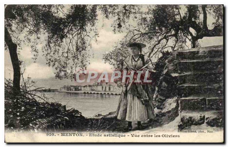 Menton - Artistic Study - View From Les Oliviers - Women - Old Postcard