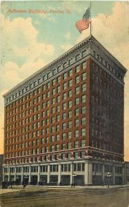 Peoria Illinois~Flag Flies High Above~Jefferson Building~3-Globe Lamps~c1910 pc