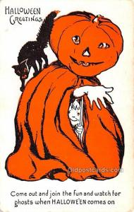 Halloween Post Card Old Vintage Antique Unused