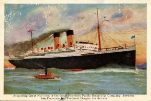 Great Northern Pacific Steamship Co. - SS Great Northern    (badly worn)