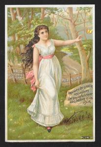VICTORIAN TRADE CARD Hall's Hair Renewer Pretty Lady Woods