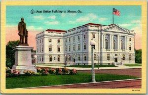Macon, Georgia Postcard Post Office Building Street View Curteich Linen c1940s