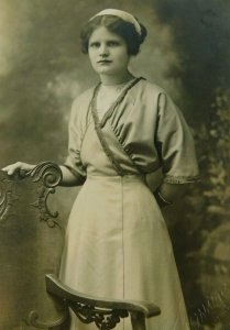 Beautiful Young Girl Posed Old Mission Studio LA CA Real Photo Vintage Postcard