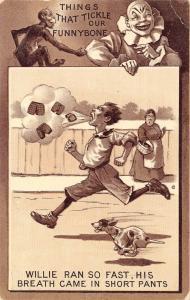 Comic Pun~Tickle Funnybone~White Face Clown~Willie Breath in Short Pants~1911 PC