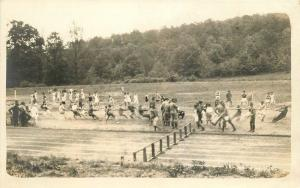 C-1918 Military Tug of War sports Track RPPC Real photo postcard 10588