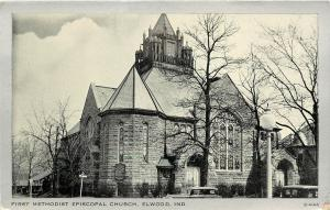 1940s Postcard First Methodist Episcopal Church Elwood IN Tipton County Unposted