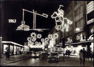 germany, ESSEN, 20 Jahre Essener Lichtwochen, Limbecker Pl. (1963) Illumination