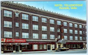 POCATELLO, Idaho  ID   Roadside  HOTEL YELLOWSTONE  Cab, Taxi ~ c1950s Postcard