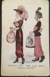 """Vintage Postcard Used Divorce """"Mercy me! The Luck Some Folls Have! Women LB"""