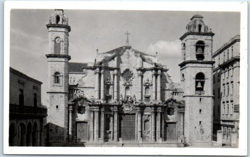 Vintage Havana, Cuba RPPC Postcard CATHEDRAL SQUARE Church View - Romay Photo