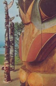Totem Pole Poles Stanley Park Vancouver Canada Canadian Postcard