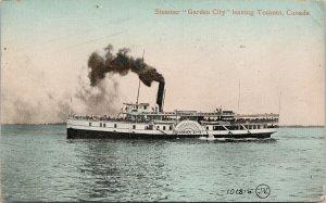 Steamer 'Garden City' leaving Toronto Ontario Ship Boat c1911 Postcard E91