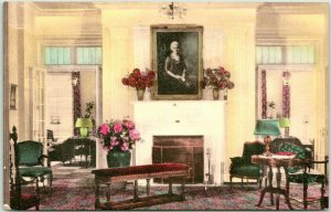 TIFFIN, Ohio Hand-Colored Postcard Daughters of America Home Reception Room