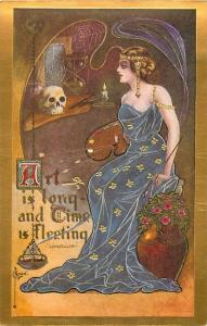 Art Is Long Time Is Fleeting Woman Artist and Skull by C. Ryan Repro Postcard