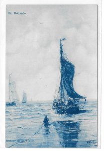 Cyanotype Netherlands Holland Return from Fishing Boat Edition Delft Postcard
