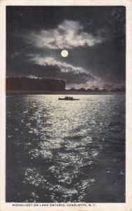 Moonlight on Lake Ontario - Charlotte, Rochester, New York - pm 1917 - WB