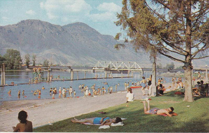 Beach Scene, Bridge, KAMLOOPS, British Columbia, Canada, 40-60's