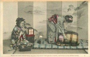 Japan Women Ethnic Dress Soldier Lover hand colored C-1910 Postcard 21-9848