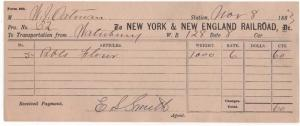 1882-4 Freight Receipt, NEW YORK & NEW ENGLAND RAILROAD, Dr.