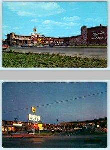 2 Postcards EUREKA, California CA ~ Day/Night FIRESIDE MOTEL Roadside c1960s