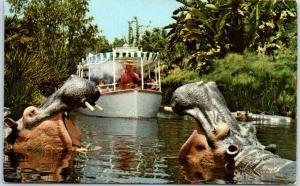 Vintage DISNEYLAND CA Postcard JUNGLE CRUISE Guide Shoots Hippos c1960s Unused