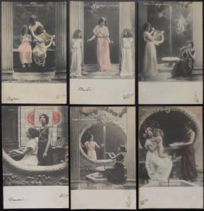 Raphael Tuck French Set of 6 PASSE TEMPS HELLENIQUES - Creek Hobbies c1903 UB
