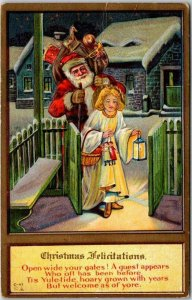 1910s SANTA CLAUS Postcard Angel Girl / Lantern Christmas Felicitations UNUSED