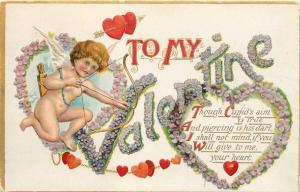 Valentine~Pink~Purple~Forget-Me-Not Letters~Hearts~Cupid~Bow~Arrow~Emb~B PC 208