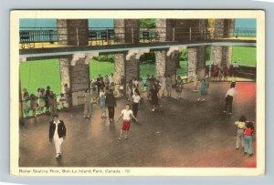 Bob-Lo Island Park Ontario Canada, Roller Skating Rink, Linen Postcard