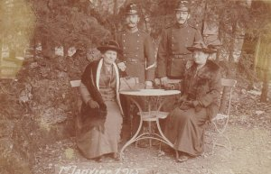 RP: Two Soldier & women , Switzerland. , 1er Janvier 1915 , Group I/1er compa...