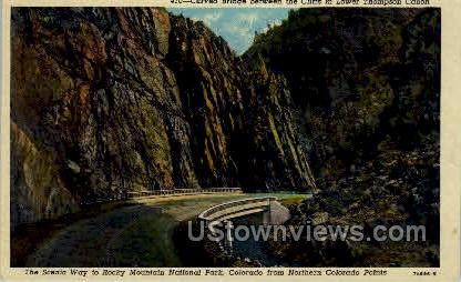 Curved Bridge between the Cliffs in Lower Thompson Canon Rocky Mountain Natio...